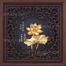 Gold Leaf Painting with Engraving Frame (20 x 20 cm)